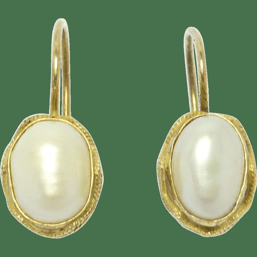 Vintage Vermeil Freshwater Pearl Leverback Earrings SOLD