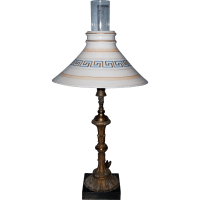 Gas Portable Table Lamp with Boston & Sandwich Shade from