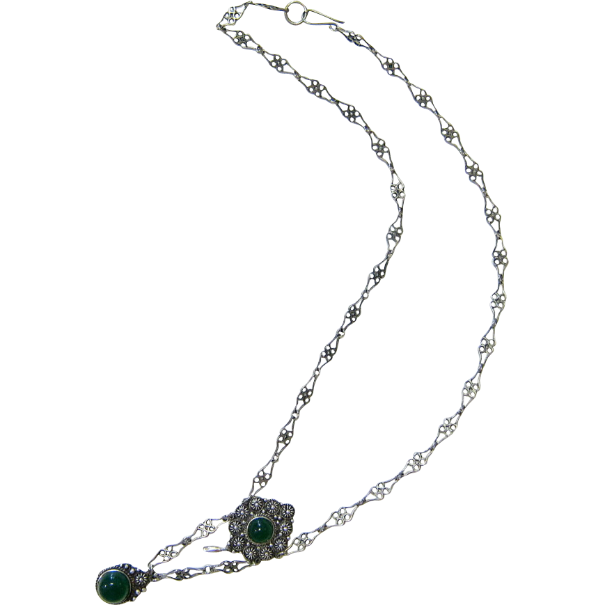 Antique Victorian Sterling Silver Emerald Green