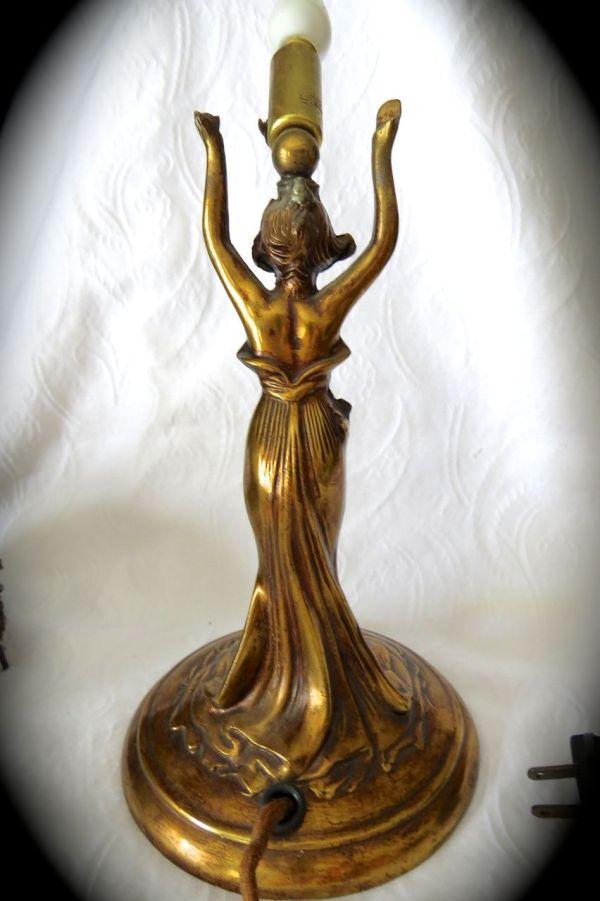 Art Nouveau Woman Antique Gold Heavy Lamp Jacknjill