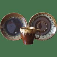 Vintage Ceramic Drip Ware Coffee Mugs, Saucers & Dessert ...