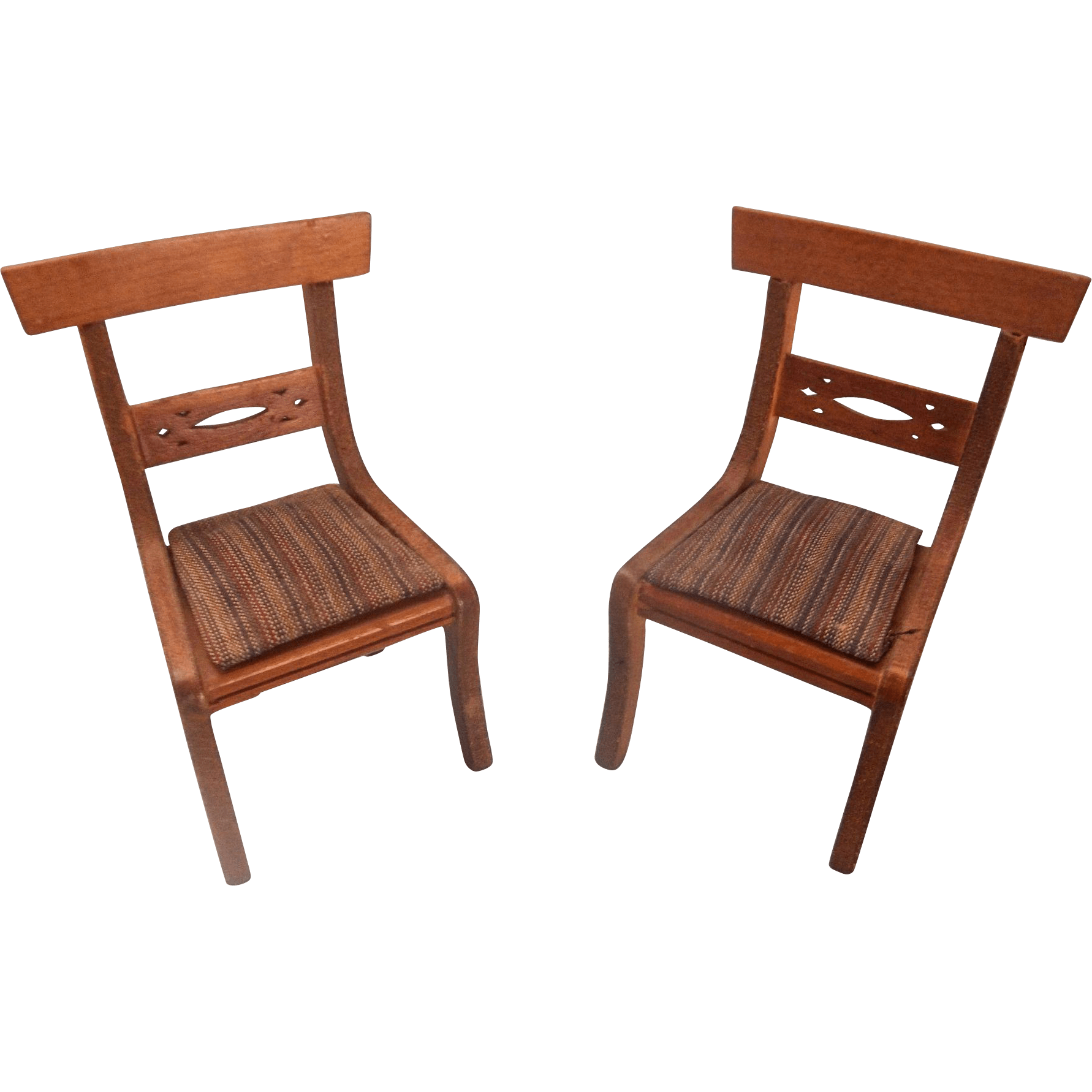 Miniature Chairs A Pair Of Miniature Dollhouse Upholstered Chairs From