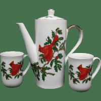 Lefton Christmas Cardinal Holiday Coffee Pot & Mug Set ...