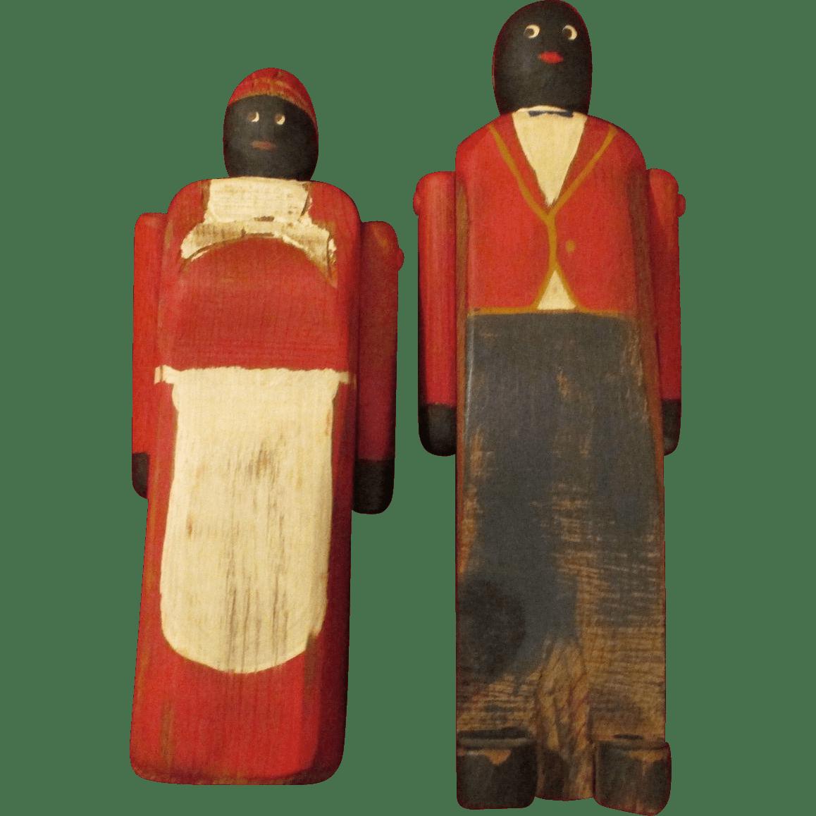 Vintage Folk Art Black Americana Wooden Dolls