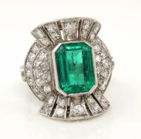 Vintage GIA 5.25ctw COLOMBIAN Green EMERALD and Old Cut ...