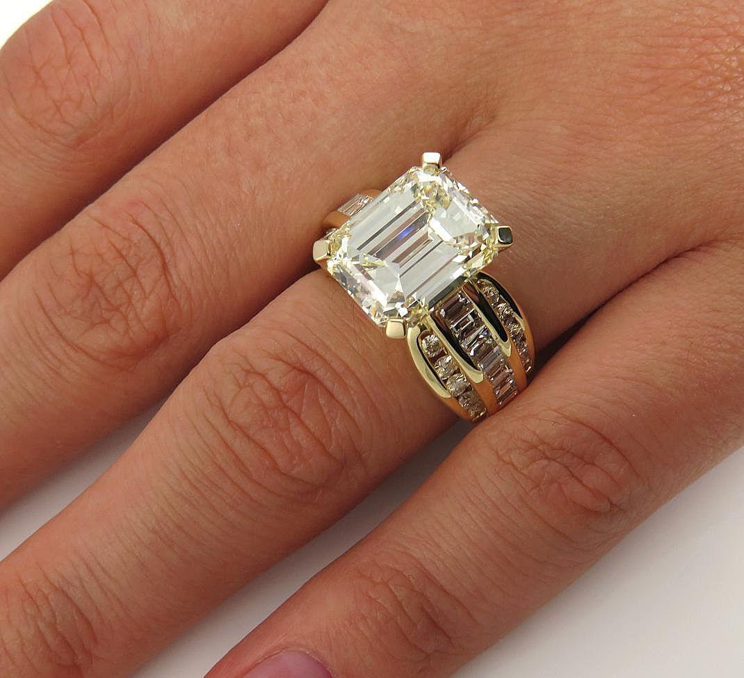Vintage 728ct GIA Wide Emerald Diamond Engagement Wedding