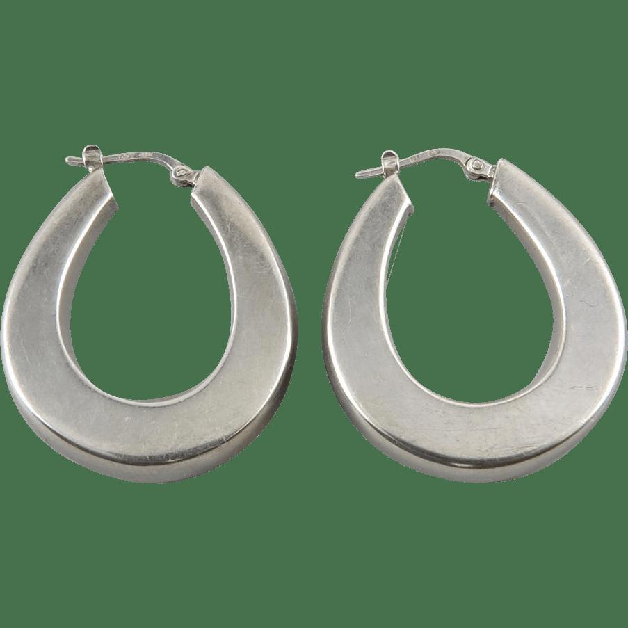 Large Puffy Sterling Silver Hoop Earrings from