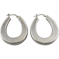 Large Puffy Sterling Silver Hoop Earrings from