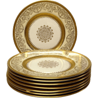 Set (8) Edgerton Pickard Gold Encrusted Dinner Plates from ...
