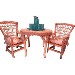American Girl High Chair Desk Posture Best Doll Furniture Rattan Table And Two Chairs