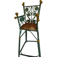 Green High Chair Molded Plywood Doll 39s Painted Wicker For Baby From