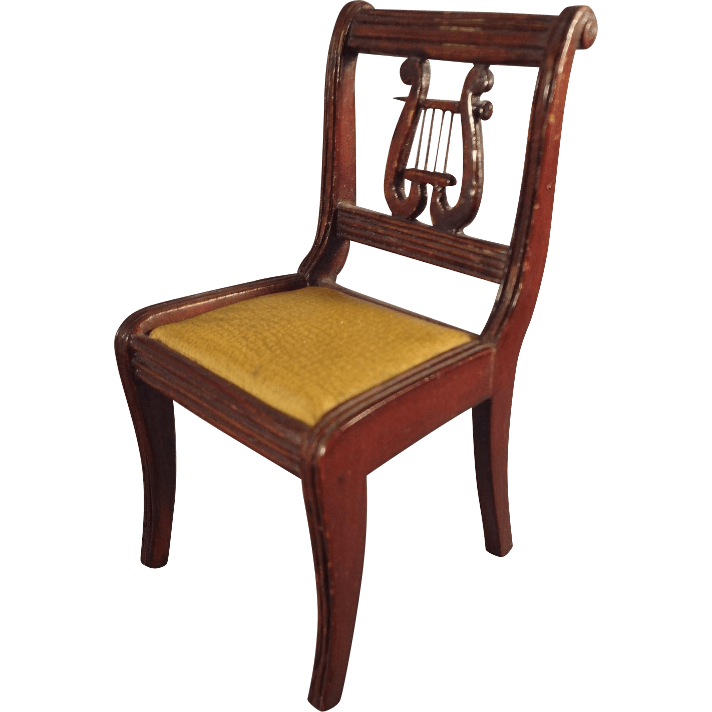 Large Doll House Scale Lyre Back Chair for Music Room from