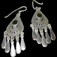 Vintage Sterling Silver & Black Onyx Earrings from ...
