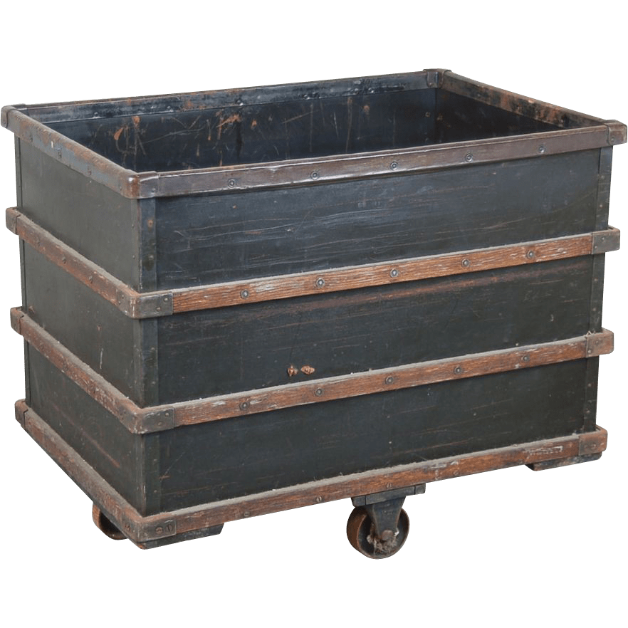 Vintage Industrial Salvage Rolling Dump Bin From Textile