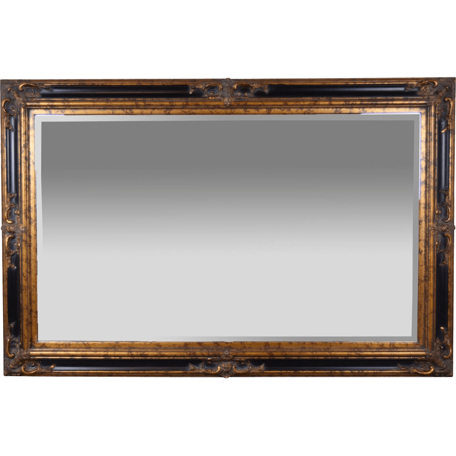 Antique Wood Frame Wall Mirror Beveled Glass