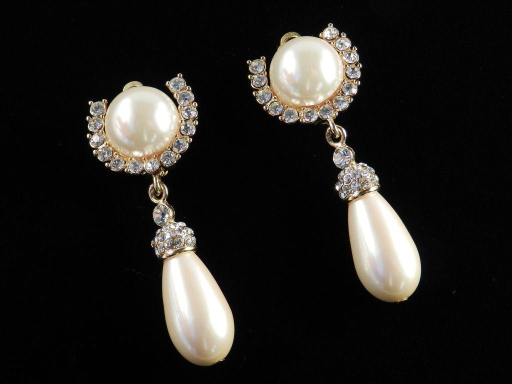 Vintage Erwin Pearl Rhinestone Faux Pearl Dangle Pendant