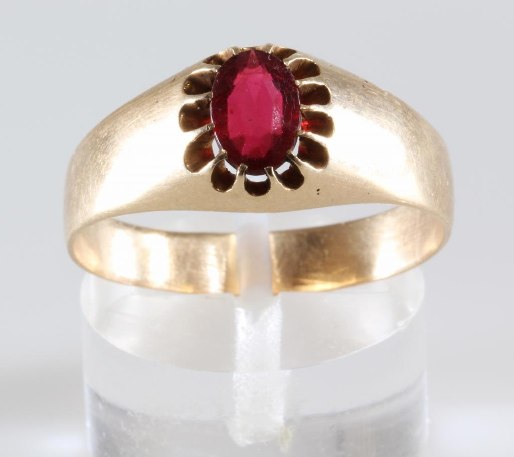 Mens Ruby Ring 14K Gold Oval Cut Antique Russia