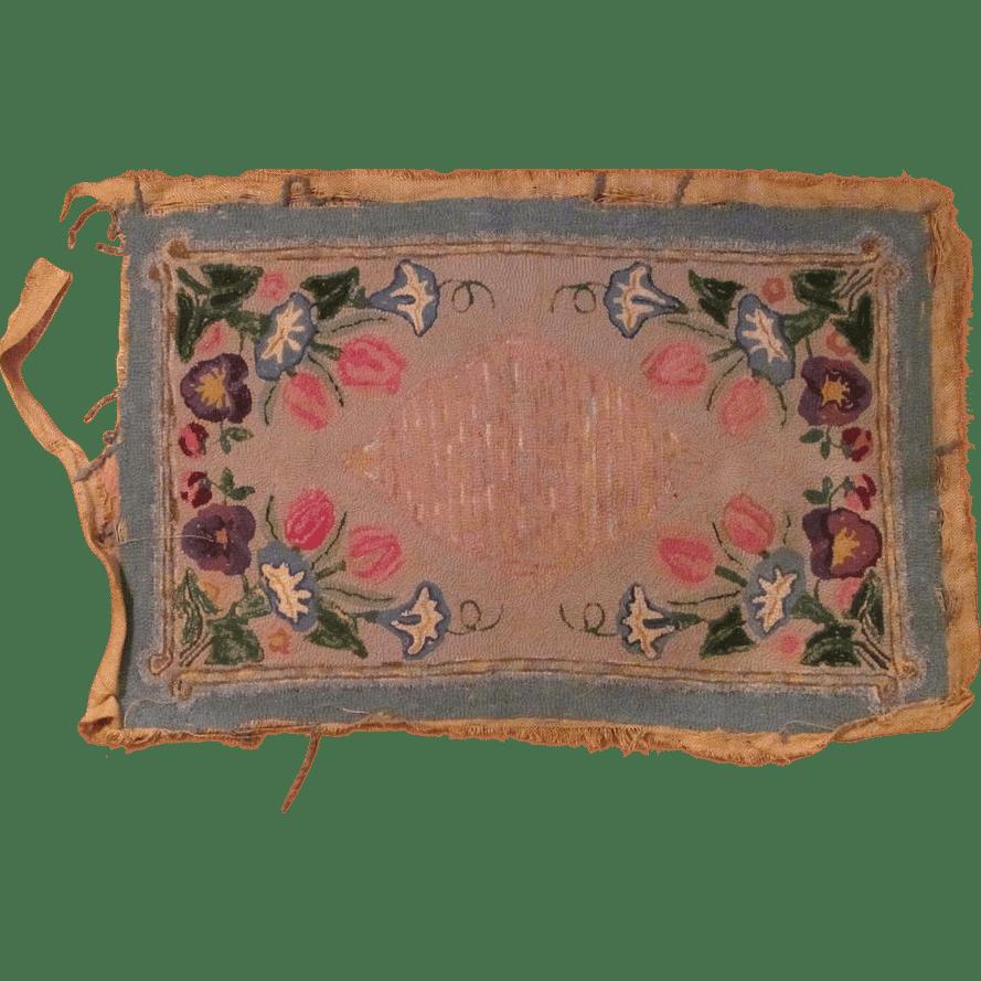 19th . American Primitive Rug Hand Hooked Folk Art Sold Ruby Lane