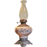 VICTORIAN Oil Lamp 1860-80 Hand Painted Porcelain from ...