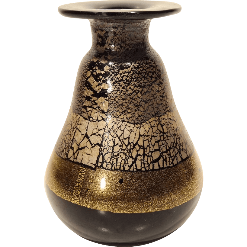 Murano Art Glass Vase In Black Glass With Gold Decoration From Collectors Row On Ruby Lane