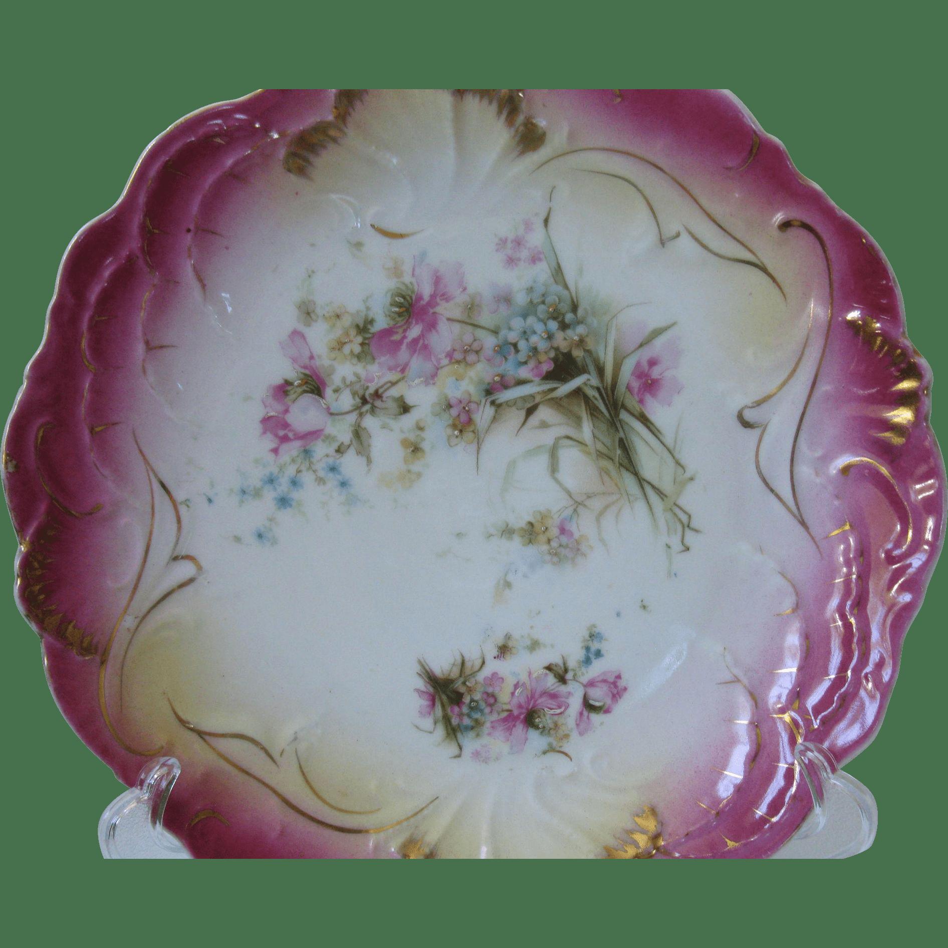 Very Rare Antique Hand Painted Porcelain Bavarian Cake