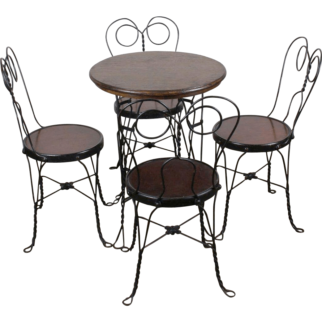 ice cream table and chairs task chair without arms parlor four c 1910 from