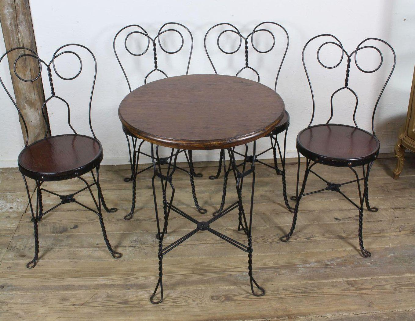 ice cream table and chairs bar for sale parlor four c 1910 from