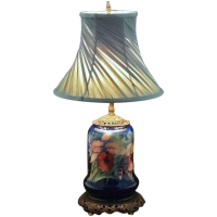 Moorcroft Orchid Pattern Pottery Lamp Base Cobalt Blue ...