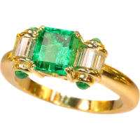 Vintage Colombian Emerald and Diamond Gold Ring ca.1980 ...