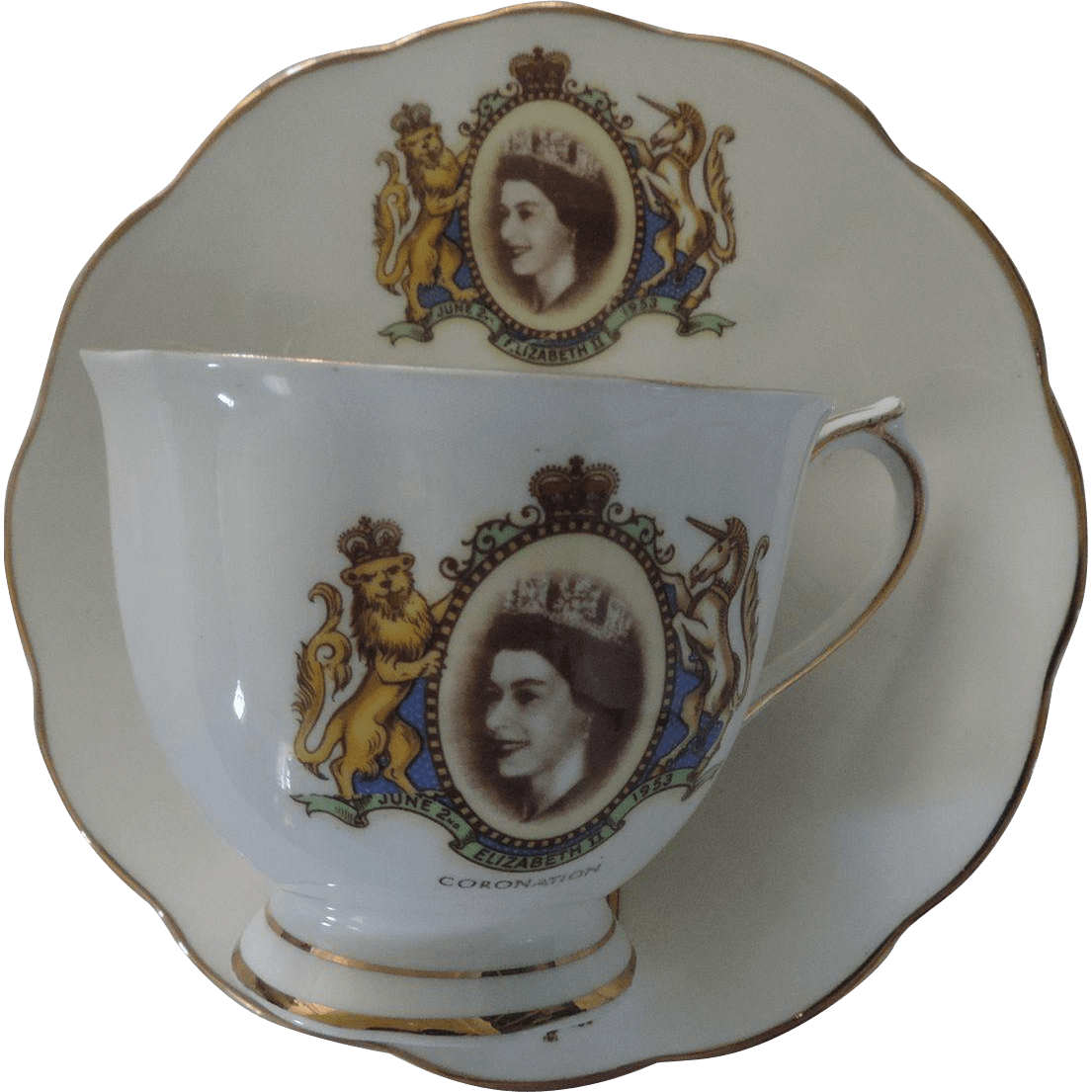 Royal Albert Coronation Tea Cup  Saucer Queen Elizabeth II from aislinneantiques on Ruby Lane