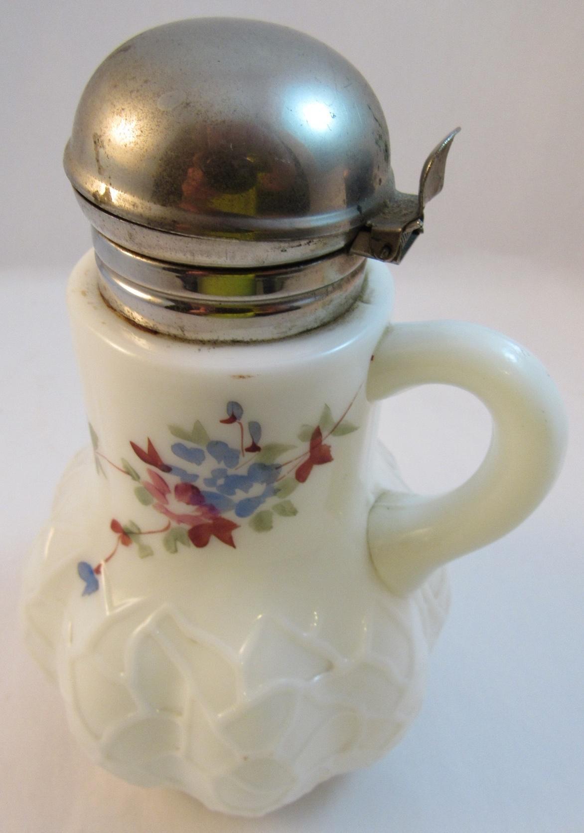 Alba Pattern Victorian Milk Glass Syrup Pitcher C1890s