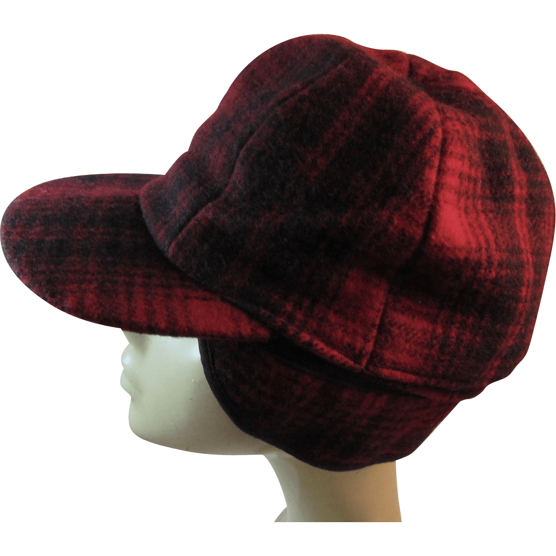 Woolrich Red Plaid Wool Sportsmans Cap Hat with Ear Flaps Reversible from ssmooreantiques on