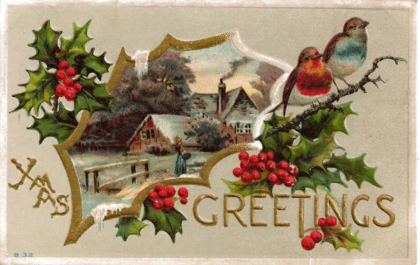 Christmas Greetings Postcard With Lovey Country Scene