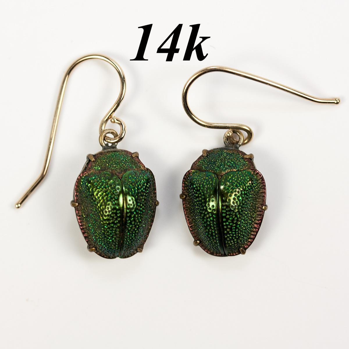 Rare Antique Victorian Earrings Real Scarab Beetle Set In