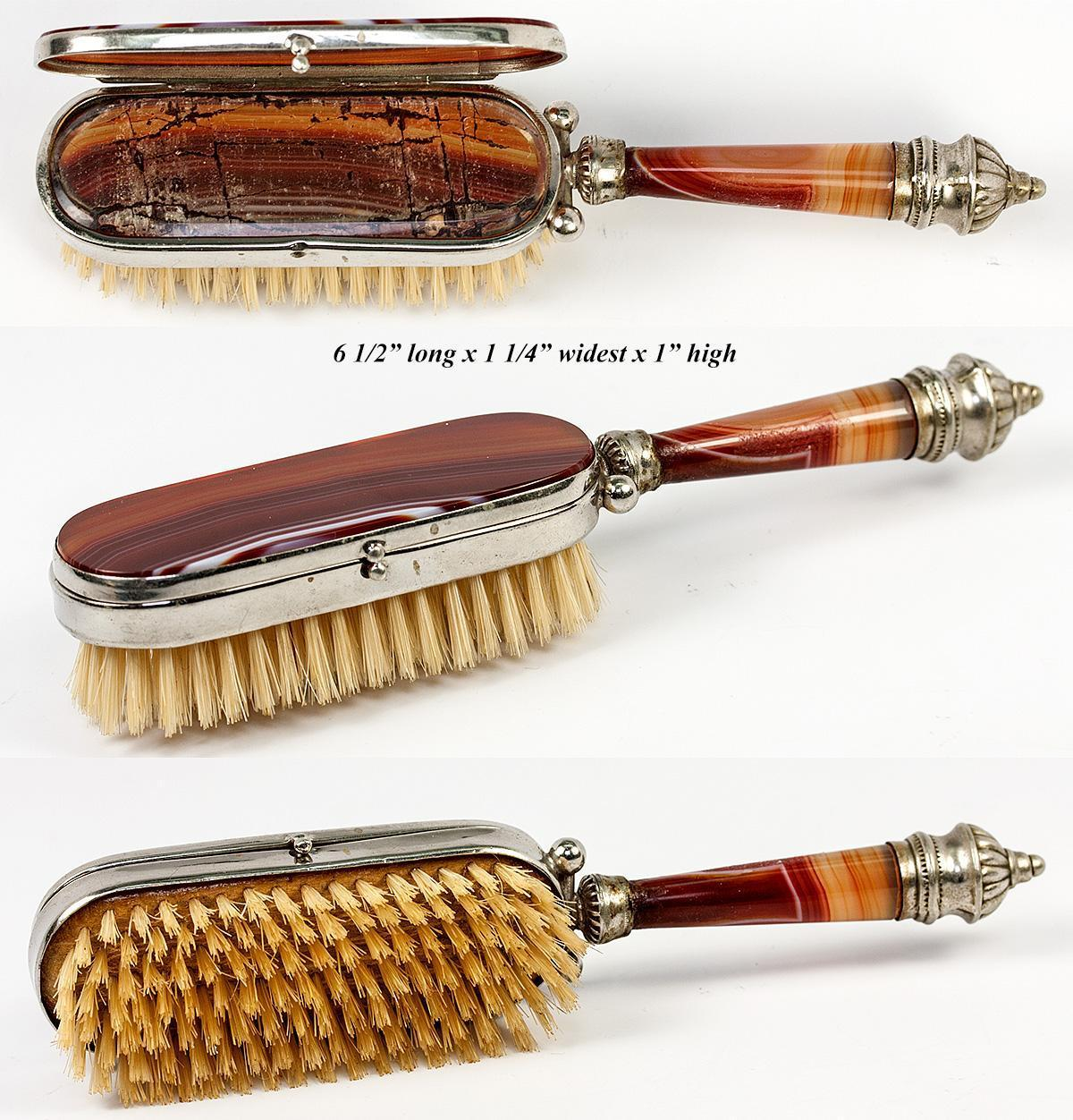 unusual antique banded agate hair