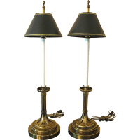 Pair Tall Buffet or Table Lamps, Black Shades from ...