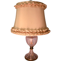 Vintage 40s Cottage Chic Pink w Roses Lamp from ...