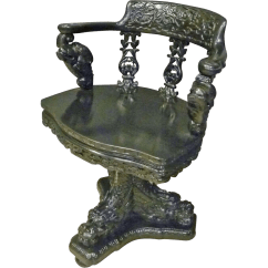 Antique Chinese Dragon Chair Ribbed Leather Office Asian Swivel Desk With Dragons From