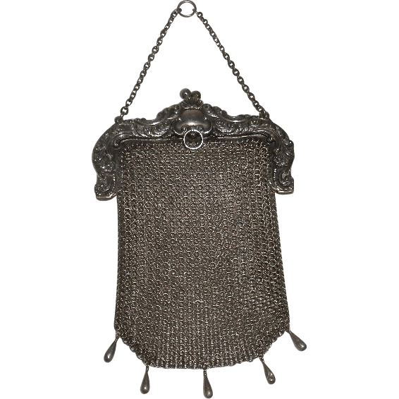 Sterling Silver Mesh Chainmail Purse Chatelaine loop from