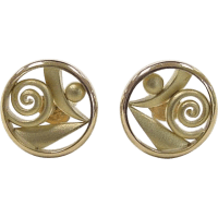 Vintage 14k Gold Unique Circle Stud Earrings from ...