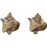 Vintage 14k Gold Diamond Conch Shell Stud Earrings SOLD on ...