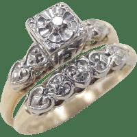 Art Deco 14k Gold Diamond Wedding Set ~ Rings from ...