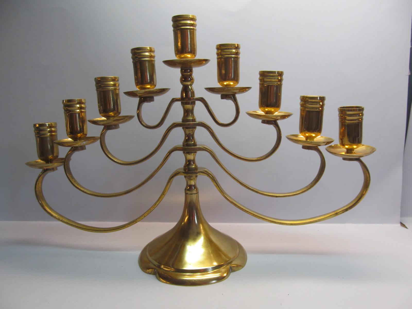 Brass Menorah 9 Cup Candlestick Holder In Japan