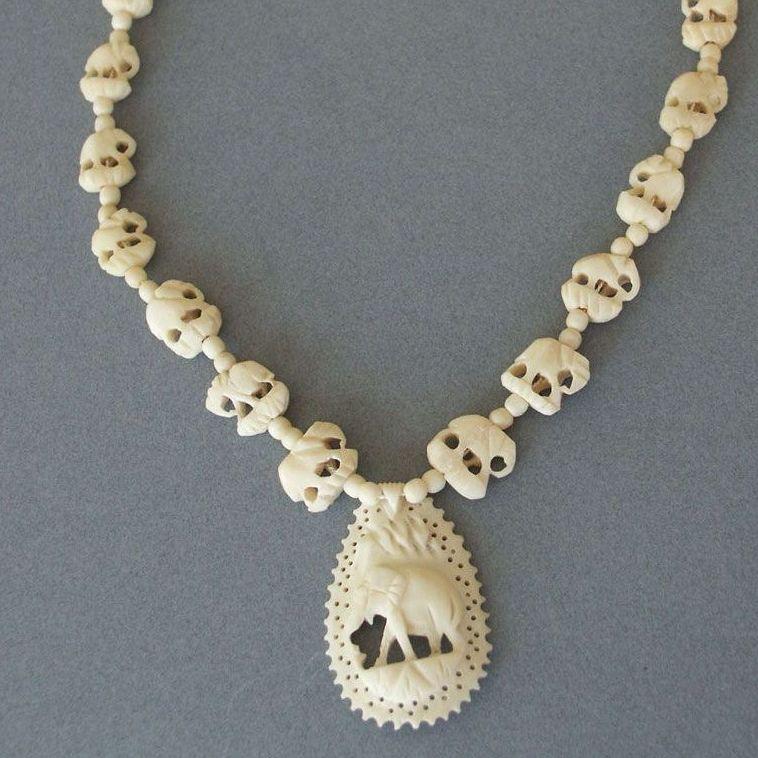 Vintage Carved Elephants Bone Necklace Red Tag Sale Item