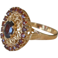Oval Garnet 10K Yellow Gold Ring from artsnends on Ruby Lane