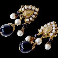 Huge Earrings Faux Pearl Black Bead Drops SOLD on Ruby Lane