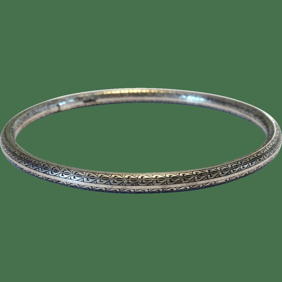 Antique Sterling Silver Engraved Bangle Bracelet SOLD