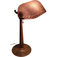 Fancy Emeralite Desk Lamp with Etched Shade from