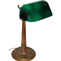 Emeralite Desk Lamp with Rare Fancy Base from