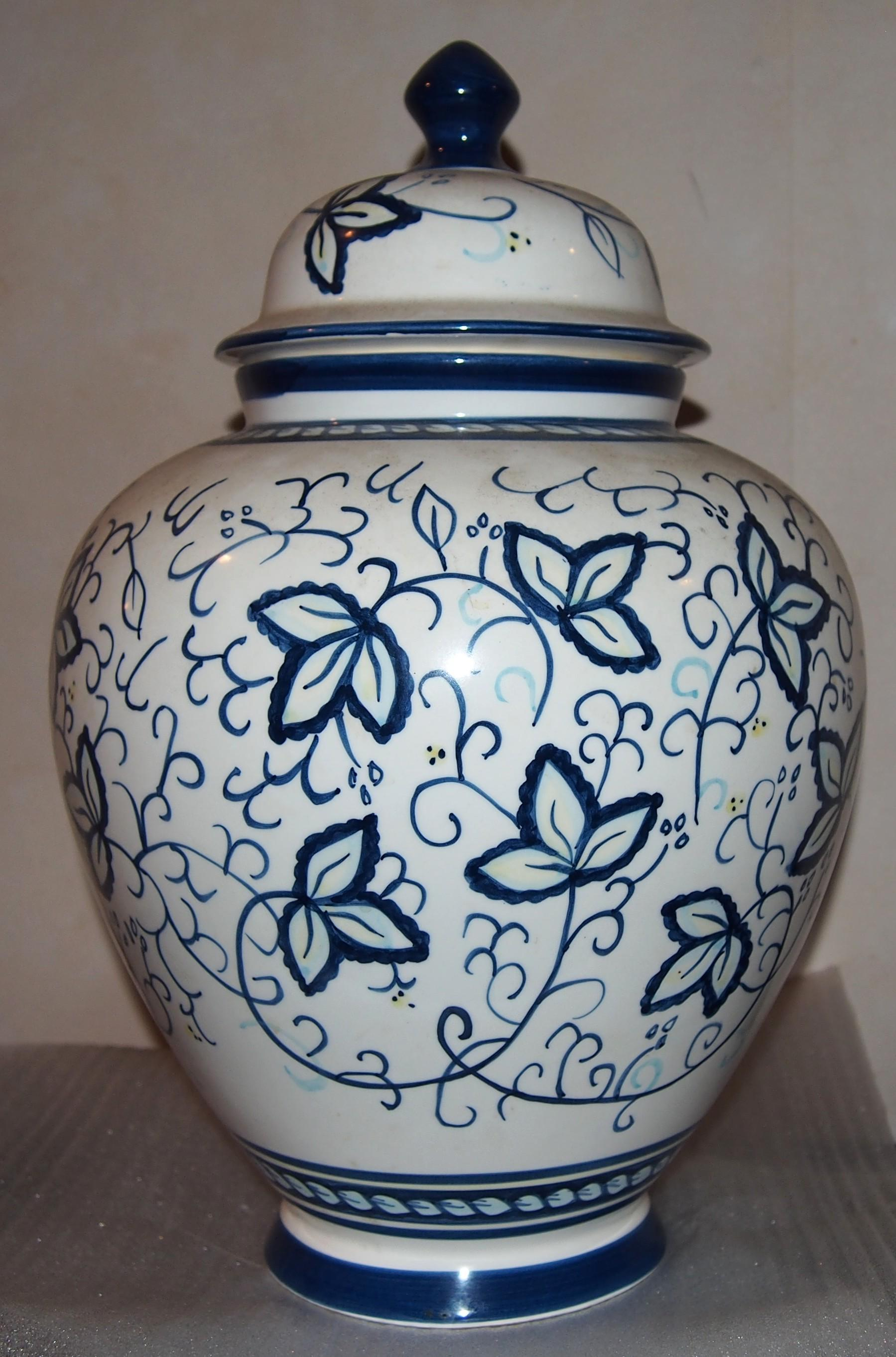 Large Biscotti Lidded Jar, (Cookie Jar), Blue And White ...
